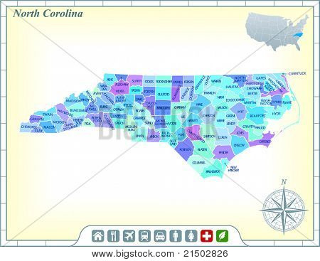 North Carolina State Map with Community Assistance and Activates Icons Original Illustration