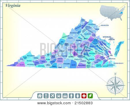 Virginia State Map with Community Assistance and Activates Icons Original Illustration