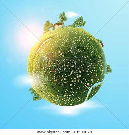 Small planet. Green summer earth with tree, grass, flowers, river, lake and sky with sun and birds for bright design