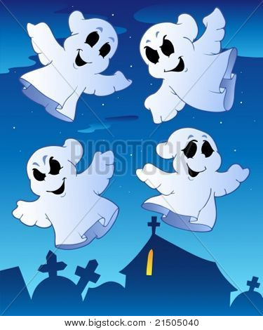 Four ghosts near cemetery - vector illustration.