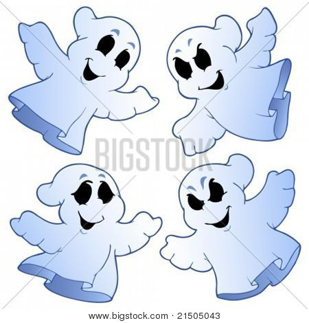 Four cute ghosts - vector illustration.
