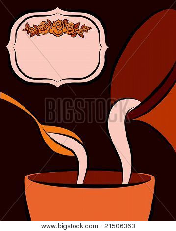 Jug and spoon are poured by milk in a cup. Vector