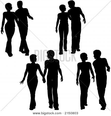 Man Woman Couple Walk Silhouettes
