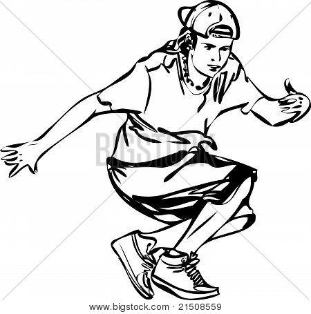 Bboy guy dancing breakdance