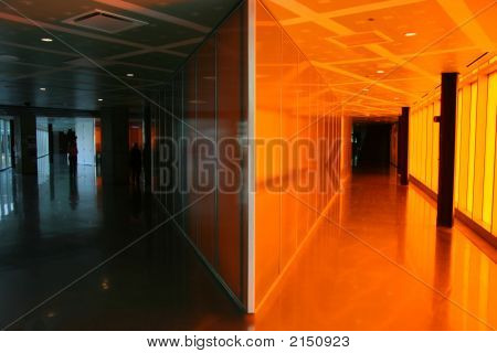 Dark And Orange Hallway