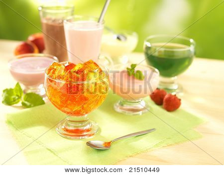 Group Of Dairy And Fruit Desserts