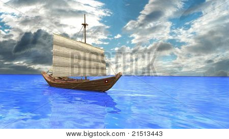 ship in the sea