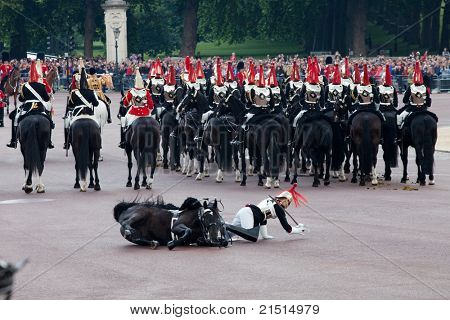 LONDON - JUNE 11: Royals horse Guard falls off horse at Trooping the Color ceremony in London, England on June 11, 2011. Ceremony is performed by regiments on the occasion of the Queen's Official Birthday
