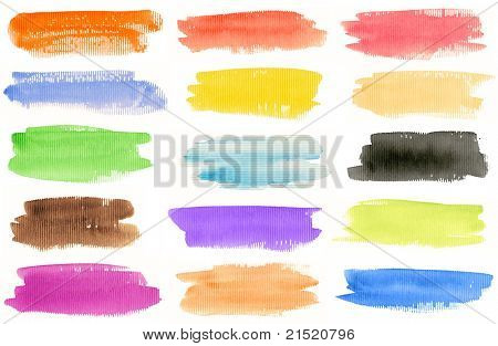 Watercolor hand painted brush strokes set. Isolated on white background. Made myself.