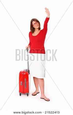 A picture of an attractive woman in her twenties waving hand over white background