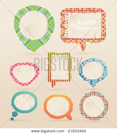Vintage colorful bubbles for speech. Vector illustration