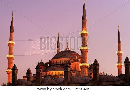 Blue Mosque on sunset