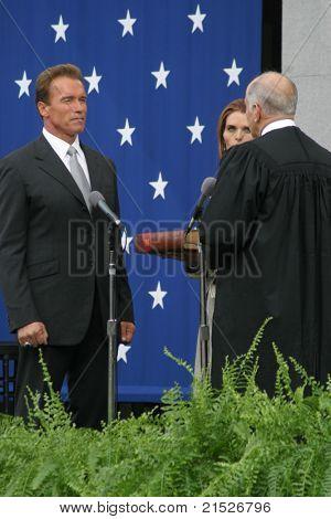 SACRAMENTO - NOV 17: Arnold Schwarzenegger at the Governor Swearing In Ceremony at the Capitol in Sacramento, California on November 17, 2003