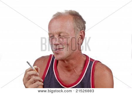 Man enjoying his cigarette