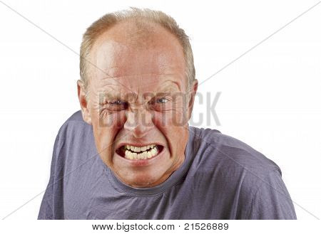 Angry man on a white background