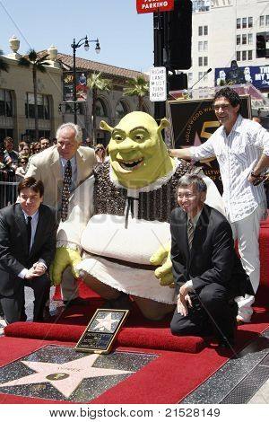 LOS ANGELES - MAY 20: Mike Myers, Tom LaBonge, Shrek, Antonio Banderas, Leron Gubler at the ceremony where Shrek receives a star on the Hollywood Walk of Fame in Los Angeles, California, May 20, 2010.