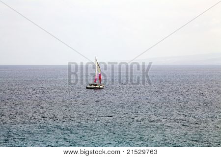 Lone Catamaran Sailboat On Mild Sea Sailing Away
