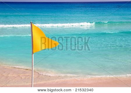 beach yellow flag weather indication signal of bathing with caution