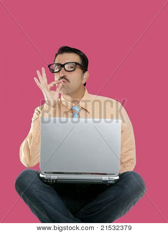 nerd man sit with laptop computer doing ok positive gesture