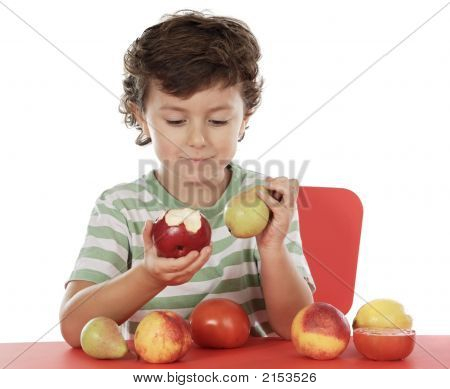 Child Playing With Fruits