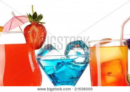 Tropical cocktails close-up isolated on white