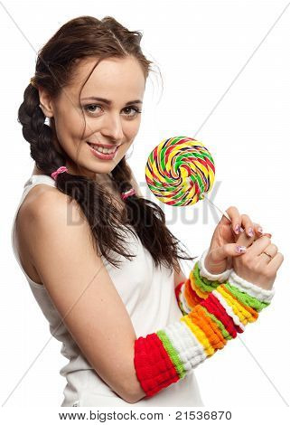 Happy Girl With Lollipop.