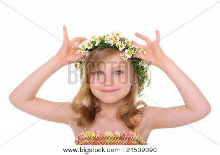 happy girl with wreath of daisies