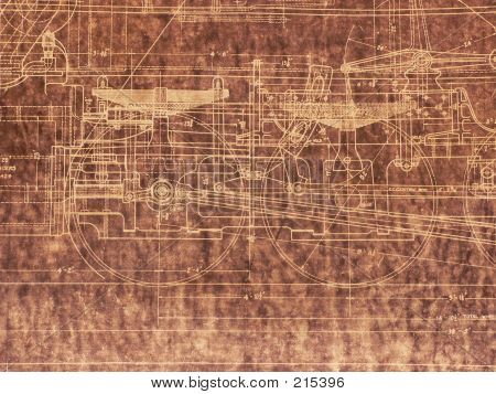 Old Locomotive Blueprint