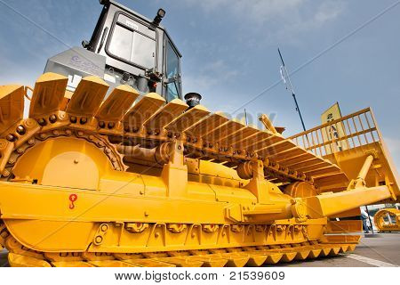 Moscow, Russia - June 02:  Yellow Diesel Bulldozer On Display At Moscow International Exhibition Con