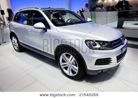 Moscow, Russia - August 25:  Grey Jeep Car Volkswagen Touareg At Moscow International Exhibition Int