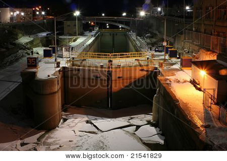 Lock on the Erie Canal at night in the winter