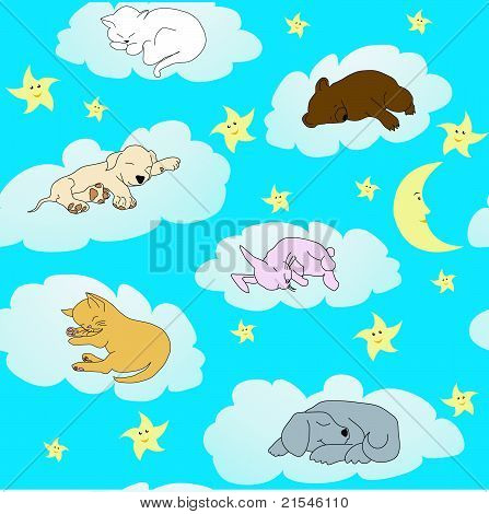Background With Cute Doodle Animals Sleeping On Clouds