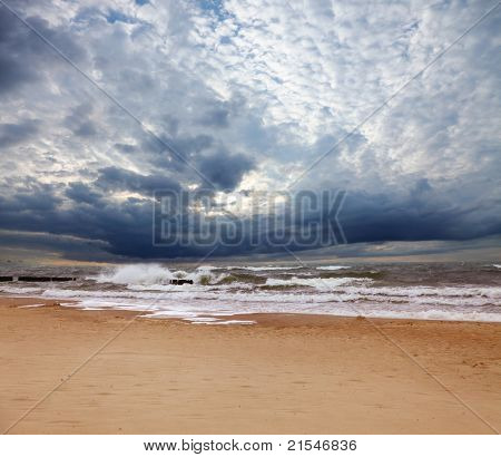 Stormy sea in sunny day