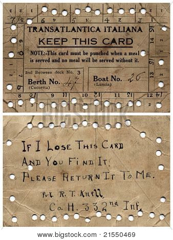 NEWBURG, NEW YORK – CIRCA 1918: Soldier's meal ticket (front & back) while on Margha, Transatlantica Italiana Steam Ship, traveling from Newburg, New York to London, England during WWI, circa 1918.