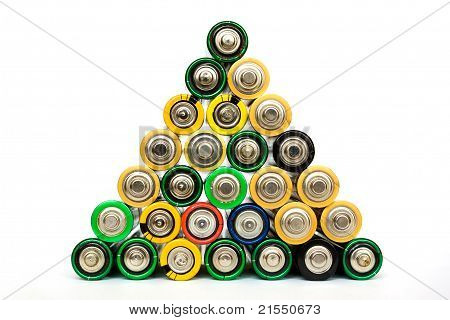 AA Batteries In A Pyramide Isolated