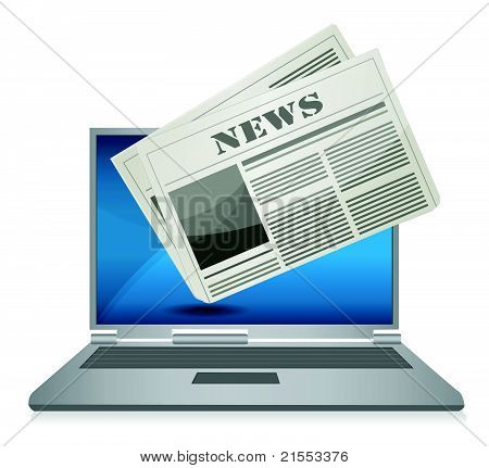 Online News concept illustration design over a white background