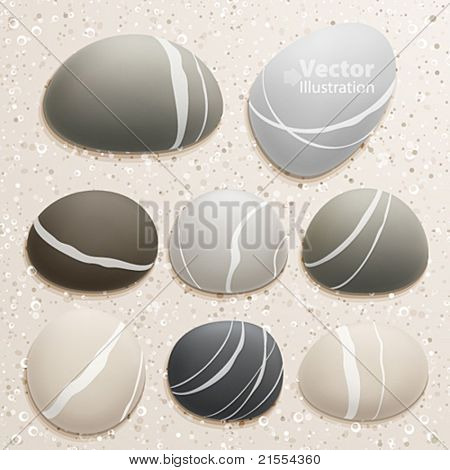 Sea stones collection on sand background. Vector illustration.