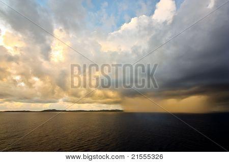 Sunset rain storm