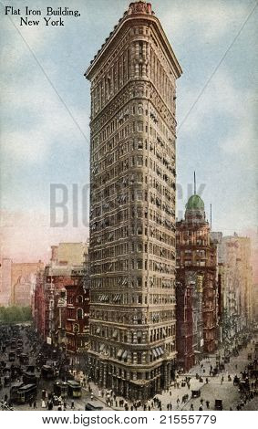 NEW YORK CITY â?? CIRCA 1912: Vintage postcard depicting the Flatiron Building in New York City, which was the first steel frame construction ever attempted, New York City, USA, circa 1912.