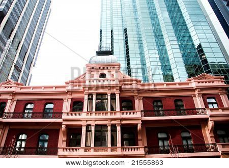 Old and new buildings in city of Perth