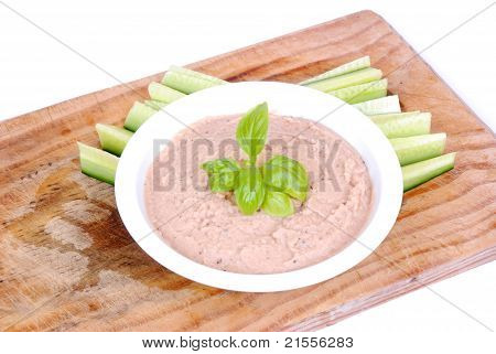 Dip with English cucumber sticks