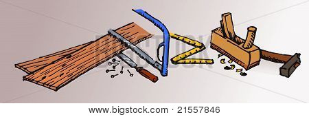 Joiner tools hand-made vector illustration