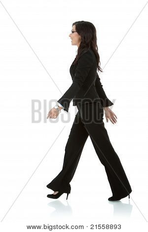Young Business Woman Is Walking