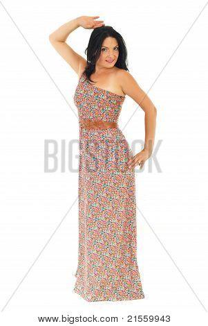 Full Length Of Woman In Long Summer Dress