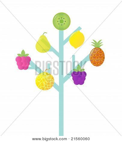 Abstract Stylized Retro Fruit Tree Isolated On White.