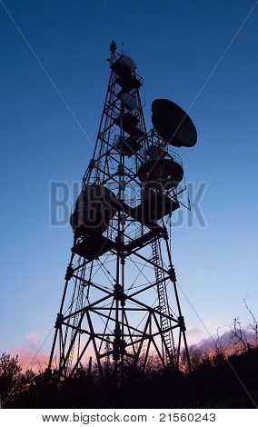 Silhouette Of Mobile Phone Communication Antenna Tower