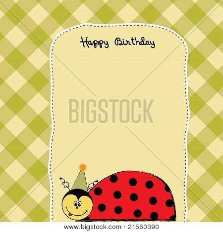 cartão de feliz aniversário com joaninha