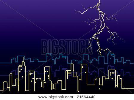 Lightning Strikes And Rain In Big City.