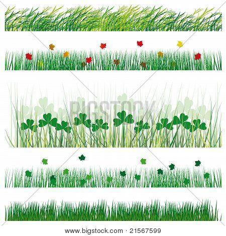 Set Grass And Leaves