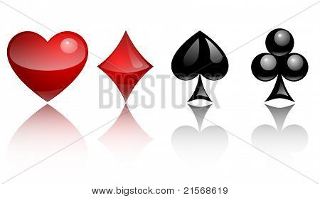 card symbols glass